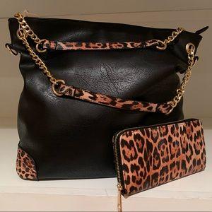 Leopard Print Tote Bag w/ Wallet
